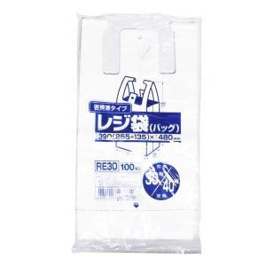 レジ袋30号 白 100枚入 ジャパックス RE30【 】|1805KBTT^