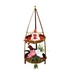 『竹二段 縁起飾り』手作り ちりめん細工 迎春 正月 飾り 鏡餅 置物 縁起物 和雑貨 なごみ リュウコドウ
