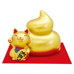 金うん招き猫 宝くじ入れ 敷物付手作り陶製 和みの和雑貨 置物