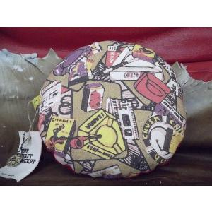【CRAFT CONCEPT】丸型 中綿 Design クッション 灰皿幾何学柄プリント 30cm 日本製|polori