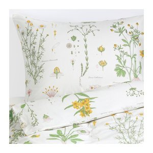 IKEA Original STRANDKRYPA 掛け布団カバー&枕カバー(枕カバー2枚) ダブルサイズ用 フローラルパターン/ホワイト 200x200/50x60cm|polori