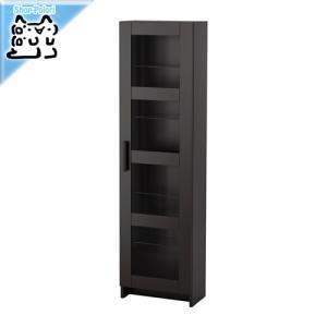 IKEA Original BRIMNES 書棚 本棚 ガラス扉キャビネット ブラック 39x142 cm 《-イケア-》|polori