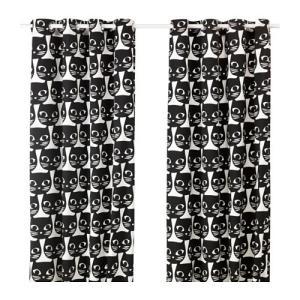 【IKEA Original】MATTRAM カーテン 1組 ホワイト/ブラック 145x250cm|polori