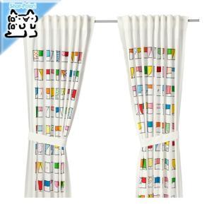 IKEA Original HEMMAHOS カーテン タッセル付き 1組 マルチカラー 120x250 cm|polori