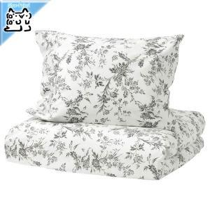 IKEA Original ALVINE KVIST 掛け布団カバー&枕カバー シングルサイズ用 ホワイト/グレー 150x200/50x60cm|polori