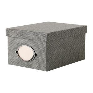 IKEA Original KVARNVIK ふた付きボックス グレー 21x29x15 cm 収納ボックス|polori