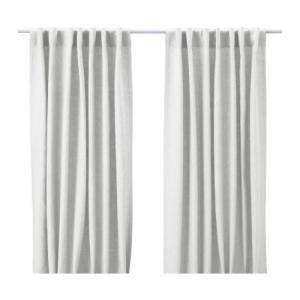 IKEA Original AINA 麻素材カーテン 1組 ホワイト 145x250 cm|polori