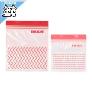 IKEA Original ISTAD プラスチック袋 レッド 60PCS 0.4L袋*30/1L袋...