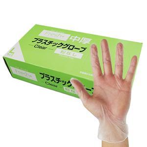 【100枚】Fresh+ プラスチックグローブ 粉なし 中厚 Lサイズ 半透明 100枚 1枚あたり4.2円 1310507|poly-stadium