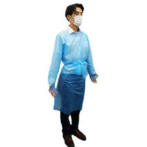 【10枚販売】プラスチックガウン フリーサイズ  青色半透明 10枚 1枚あたり50円 使い捨て 男女兼用 親指フック|poly-stadium