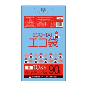 ごみ袋 90L0.04mm厚 青 10枚バラ 1冊225円 LN-91bara poly-stadium