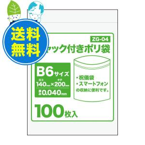 チャック付きポリ袋B6サイズ ZG-04  140x200x.040mm厚 透明 100枚x50冊 1冊あたり255円|poly-stadium