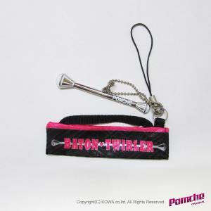 バトンケース形・ミニチュアストラップ(ミニ・バトン入り)ノードロップ黒ピンク|pomche