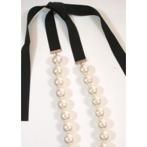 パール/リボンテープ/人工真珠/ネックレス/冠婚葬祭向き/PR-11 pompadour