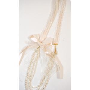 パール/リボン/人工真珠/下3連ネックレス/冠婚葬祭向き/PR-20 pompadour