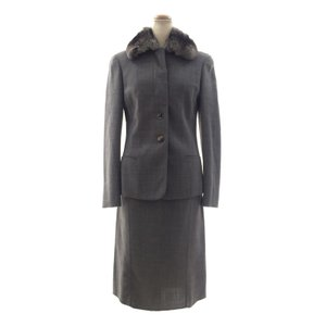 アニオナ 襟元ファー付き ジャケット スカートセット スーツ AGNONA|pomps