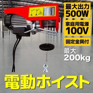 電動ホイスト ウインチ 最大200Kg 電源 100V 家庭用 リモコン付 シングルフック ダブルフック A20A|pond