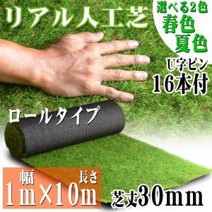 リアル人工芝 ロールタイプ 1m×10m 芝丈30mm 芝生マット 透水性 人工芝生 夏色 春秋色 庭|pond