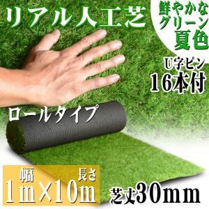 リアル人工芝 ロールタイプ 1m×10m 芝丈30mm 芝生マット 透水性 人工芝生 夏色 庭|pond