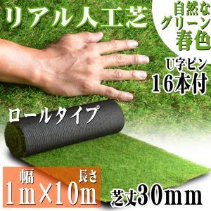 リアル人工芝 ロールタイプ 1m×10m 芝丈30mm 芝生マット 透水性 人工芝生 春秋色 庭|pond