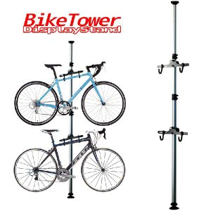 自転車 スタンド ラック 天井突っ張り式 室内 2台 縦置き ディスプレイ バイクタワー 収納 自転車置き場 倒れない AT031|pond