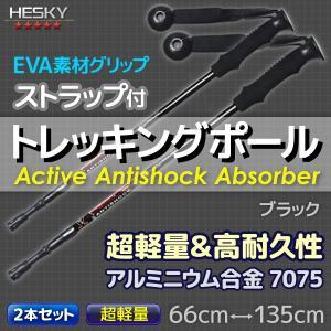 2本セット トレッキングポール ステッキ ストック 黒 ブラック I型 軽量アルミ アンチショック機能 登山 伸縮 杖 TP02BKSET2|pond