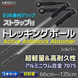 2本セット トレッキングポール ステッキ ストック 銀 シルバー I型 軽量アルミ アンチショック機能 登山 伸縮 杖 TP02WHSET2|pond