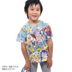 オーバーサイズTシャツ キッズTシャツ 子供服 キッズ 子ども トップス 半袖 オールプリント キャラクター 宇宙飛行士 星 男の子 イヌメンZ pop-collection