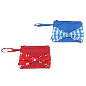 キッズ用 リボンクラッチバッグ キャラクター 小さめバッグ ハンドバッグ おしゃれ 女の子 チェック レッド・ブルー pop-collection