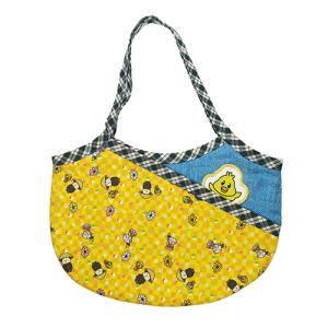 キッズ用グラニーバッグ 手提げ カバン バッグ 可愛い 小さい ポケット付き ワッペン付き キャラクター イエローチッチ pop-collection