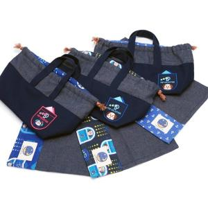 マチ付きランチ巾着とランチョンマットのセット お弁当袋 お弁当バッグ おしゃれ シンプル 大人可愛い ワッペン付き キャラクター ネイビー ブルー pop-collection