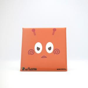 置物 かわいい 小さい 缶バッジ 缶バッチ 缶バッヂ スタンドクリップ付き スクエア 四角 オレンジ オレビヨ|pop-collection
