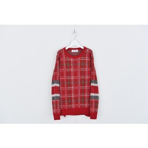 DISCOVERED(ディスカバード) / Check line sweater (RED)|pop5151