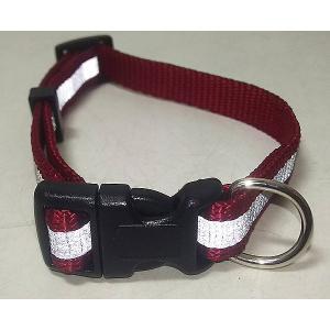 【在庫処分品】ライン入り犬用首輪 巾1.5×26〜40cm 赤|popola-soniashop