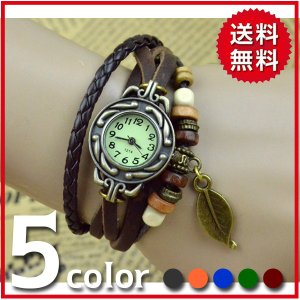 腕時計 メンズ レディース おしゃれ アンティーク風 レザー 本革調 リーフ アジアンテイスト ブレスレット|popularshop