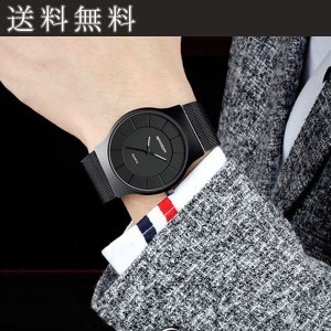 腕時計 メンズ レディース おしゃれ 防水 アナログ ステンレス 薄型 クウォーツウォッチ ビジネス カジュアル シンプル|popularshop