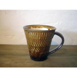小鹿田焼*飛び鉋*マグカップ・飴色|porch-drop