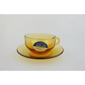【ビンテージデッドストック】ADELEX(アデリアガラス)石塚硝子*アンバーガラスカップ&ソーサー|porch-drop