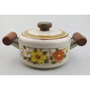 【ビンテージデッドストック】純国産エジリー18cmホーロー鍋 両手鍋 琺瑯鍋 昭和レトロ porch-drop