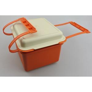 【ビンテージ】日本製Tupperware(タッパーウェア) ハンドル付きランチボックス・オレンジ|porch-drop