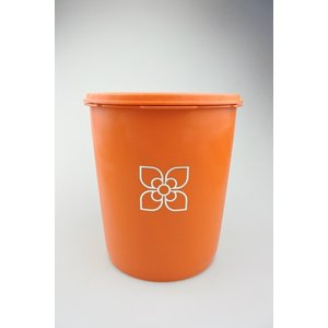 【ビンテージ】日本製Tupperware(タッパーウェア) マキシデコレーター オレンジ キャニスター 密閉容器|porch-drop