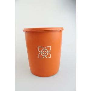 【ビンテージ】日本製Tupperware(タッパーウェア) マキシデコレーターSS オレンジ キャニスター 密閉容器|porch-drop
