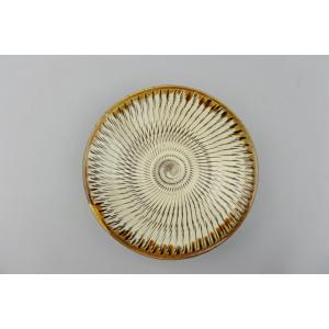 小鹿田焼*飛び鉋*4.5寸皿|porch-drop