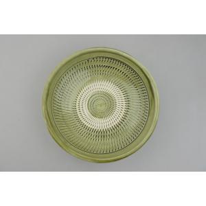 小鹿田焼*飛び鉋*7寸中皿鉢・青緑|porch-drop