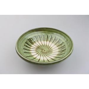 小鹿田焼*刷毛目*6寸中皿鉢・青緑|porch-drop
