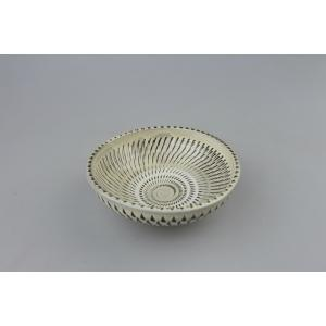 小鹿田焼*飛び鉋*4寸切立皿|porch-drop