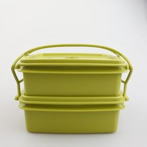 【ビンテージデッドストック】日本製Tupperware(タッパーウェア) デュエット M アボカドグリーン 2段ランチボックス 密閉容器|porch-drop