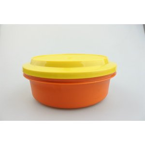 【ビンテージ】日本製Tupperware(タッパーウェア) シールアンドサーブ オレンジ×イエロー キャニスター 密閉容器|porch-drop
