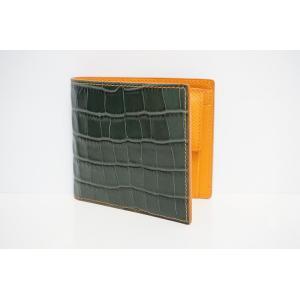 TRIVALENTE TM.GREEN×ORANGE トリヴァレンテ クロコ 型押し グリーン オレンジ 緑 トリヴァレンテ 2つ折り 折りたたみ 財布 サイフ さいふ ウォレ|portarossa