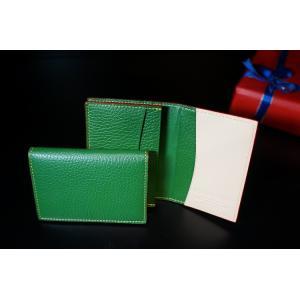 TRIVALENTE BUSINESS CARDCASE GREEN 名刺入れ カードケース グリーン  緑 2つ折り 折りたたみ イタリア 革 レザー ビジネス ユニセックス プレゼ|portarossa